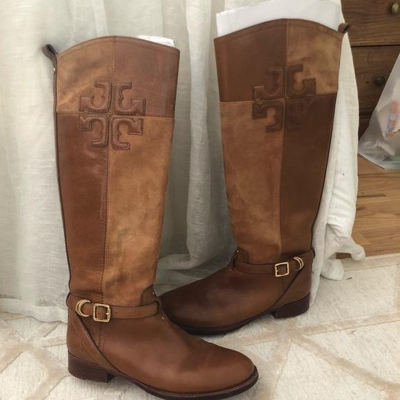 a78e31734efe Tory Burch Logo Leather   suede riding boots. M 5b7b160a81bbc82717651de1